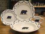 WR10338.BLKBTRX - Rustic Wildlife Wide Rim 16pc Dinnerware set - Bear and Tracks WR10338.BLKBTRX