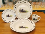 WR10338.LBFTRX - Rustic Wildlife Wide Rim 16pc Dinnerware set - Bear and Cubs with Tracks WR10338.LBFTRX