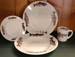 WR10338.TRTA - Rustic Wildlife Wide Rim 16pc Dinnerware set - Trout Series WR10338.TRTA