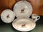 WR10338.WTDBANT - Rustic Wildlife Wide Rim 16pc Dinnerware set - Whitetail Deer with Antlers WR10338.WTDBANT