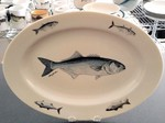 WRP793.BLU - Wide Rim Natural Glaze Oval Platter 14 - Bluefish with Northeast Fish Series WRP793.BLU