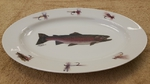 WRP793.TRTF - Wide Rim Natural Glaze Oval Platter 14 - Trout with Flies WRP793.TRTF