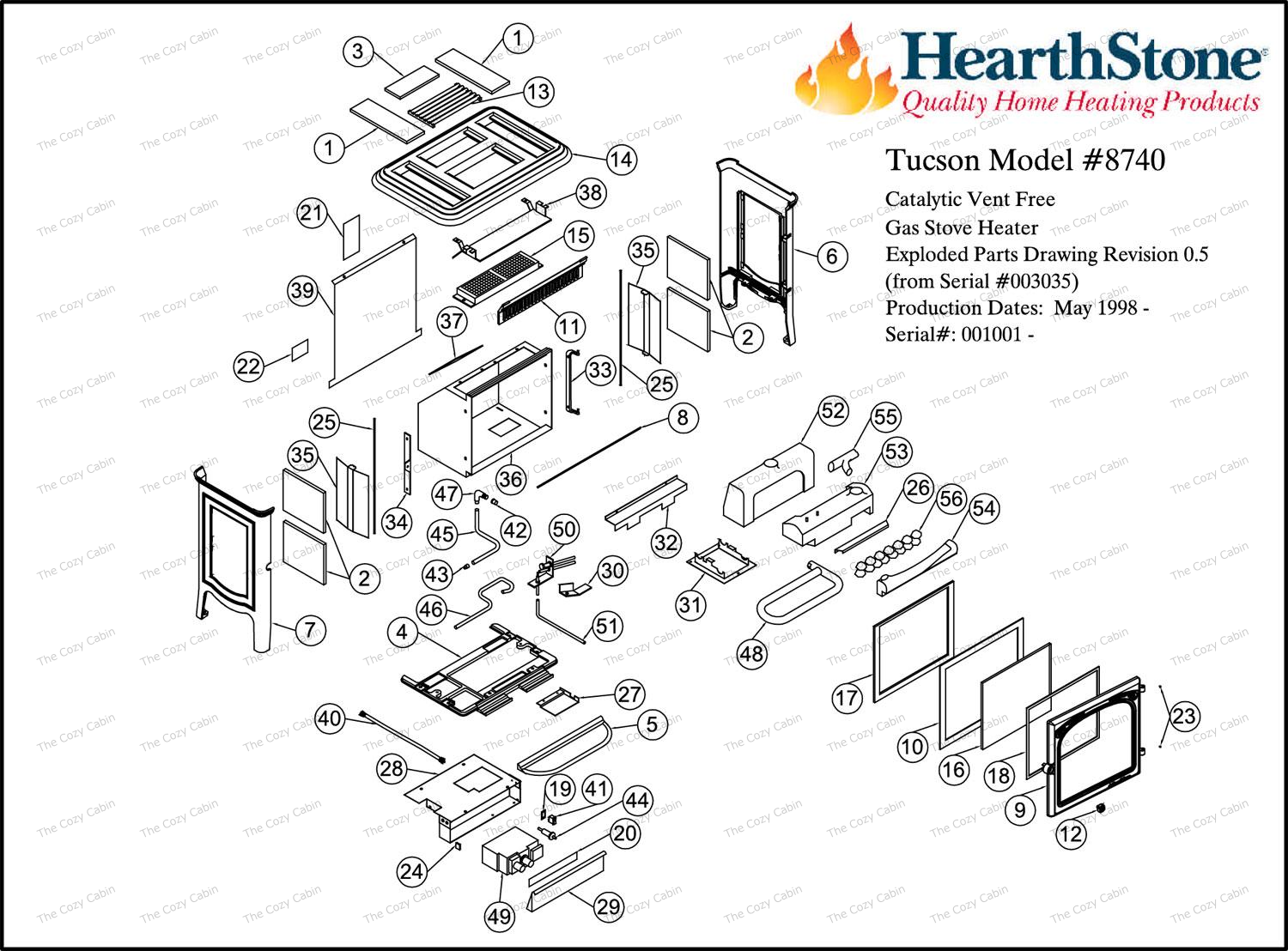 Tucson Vf Model 8740 Parts The Cozy Cabin Hearthstone Store Gas Wall Heater Wiring Diagrams