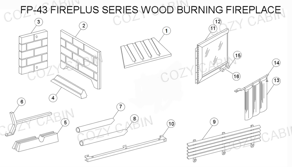 Fireplus Series Wood Burning Fireplace (FP-43) #FP-43