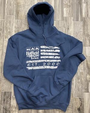 Established Flag Hoodie Indigo Blue / Coral 222