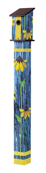 Studio M 5' Coneflower Art Glass Birdhouse Art Pole 5891
