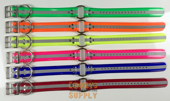 "21"" Day-Glo Dog Collar with D-Ring & Center Ring- 1.5""Wide #WS-1.5DG-DO"