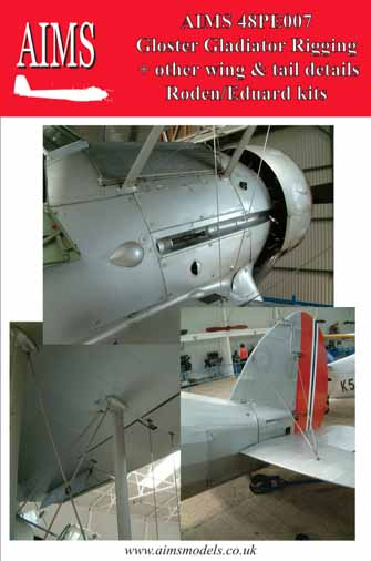 Gloster Gladiator Rigging + Wing / Tail details (designed to be used with Eduard and Roden kits) #AIMPE48007
