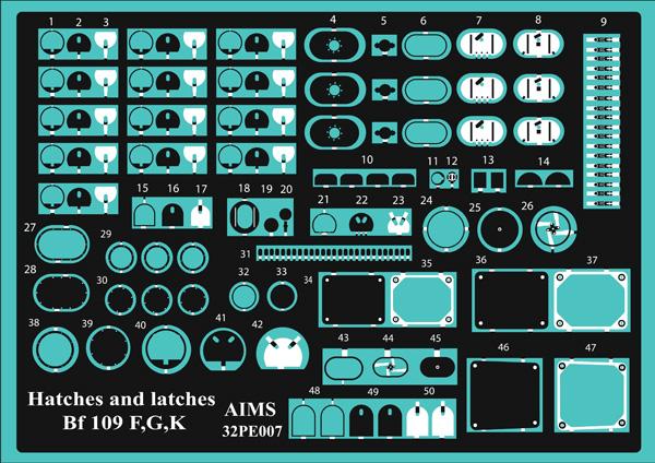Hatches and latches Messerschmitt Bf.109G-6/Bf.109G-10 Erla Gear bay update set #AIMS32PE07