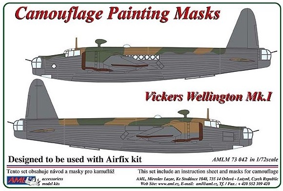 Vickers Wellington Mk.I camouflage pattern paint mask (designed to be used with Airfix kits) #AMLM7342