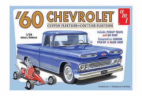 1960 Chevy Custom Fleetside Pickup Truck w/Go Kart - Pre-Order Item #AMT1063