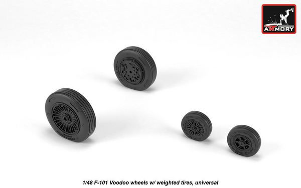 McDonnell F-101B Voodoo wheels with optional nose wheels & weighted tires (designed to be used with Revell kits) #ARAW48318