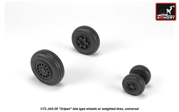Saab JAS-39 Gripen wheels with weighted tires, late (designed to be used with Italeri and Revell kits)[JAS-39A JAS-39B JAS-39C JAS-39D] #ARAW72504