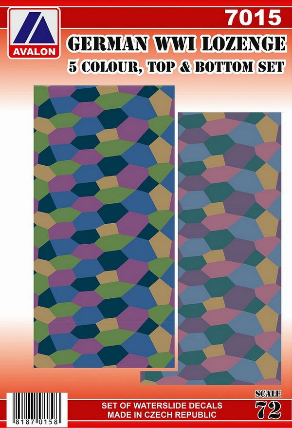 German lozenge set - 5 colour, topside and underside patterns (2 sheets) #AVD7015