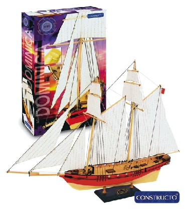 Dominica 3-Masted Sailing Ship w/painted plastic hull (Intermediate) #CNS80565