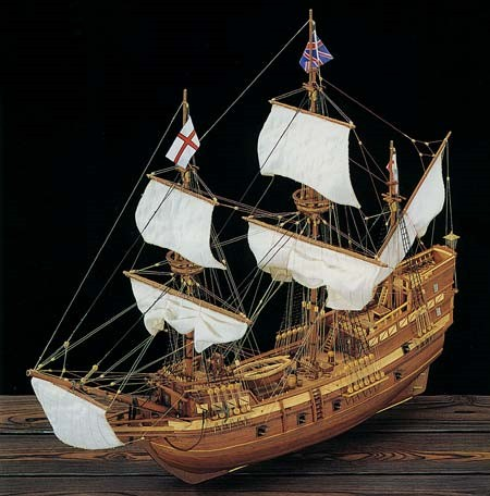Mayflower 4-Masted England 1620 Sailing Ship w/plank-on frame (Advanced) #CNS80819