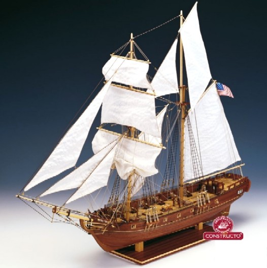 Enterprise Double-Masted American War Maryland 1799 Schooner Ship w/plank-on-frame (Advanced) #CNS80837