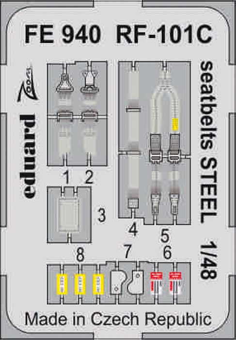McDonnell RF-101C Voodoo seatbelts (designed to be used with Kitty Hawk Model kits) #EDUFE940
