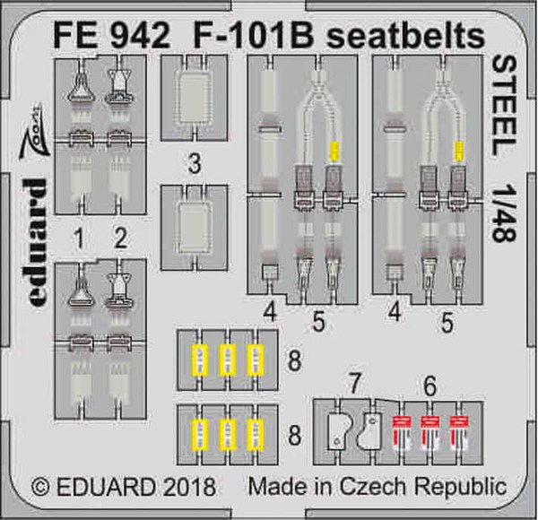 McDonnell F-101B Voodoo seatbelts STEEL (designed to be used with Kitty Hawk Model kits) #EDUFE942