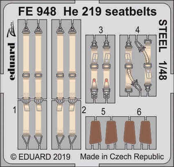 Heinkel He.219A-7 seatbelts STEEL (designed to be used with Tamiya kits) #EDUFE948