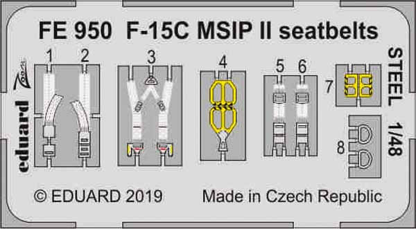 McDonnell F-15C MSIP II seatbelts STEEL (designed to be used with Great Wall Hobby kits) #EDUFE950