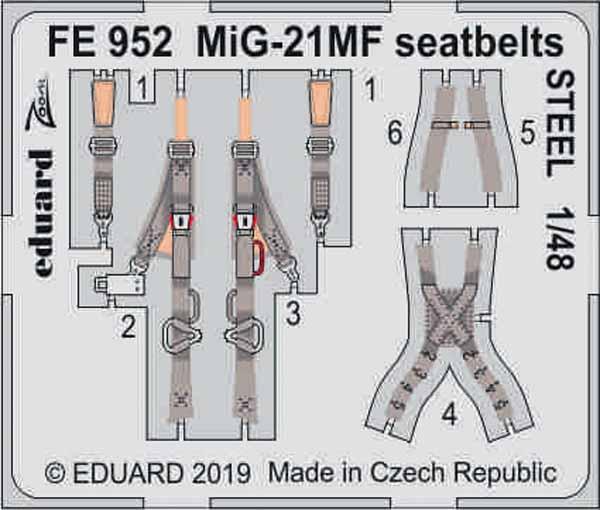 Mikoyan MiG-21MF seatbelts STEEL (designed to be used with Eduard kits) #EDUFE952