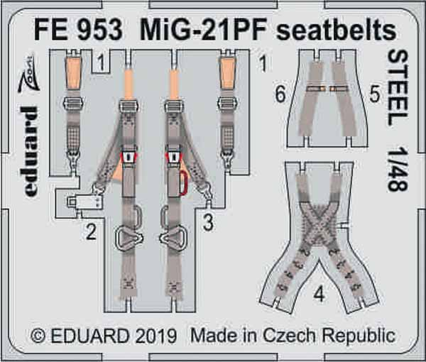 Mikoyan MiG-21PF seatbelts STEEL (designed to be used with Eduard kits) #EDUFE953
