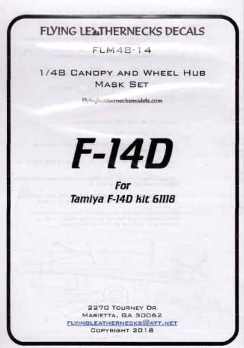 Grumman F-14D Tomcat EXPERT Canopy and Wheel Mask Set (designed to be used with Tamiya kits) #FLM48-14