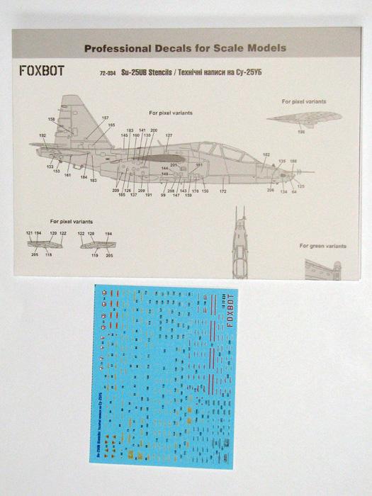 Stencils for Sukhoi Su-25UB #FBOT72034