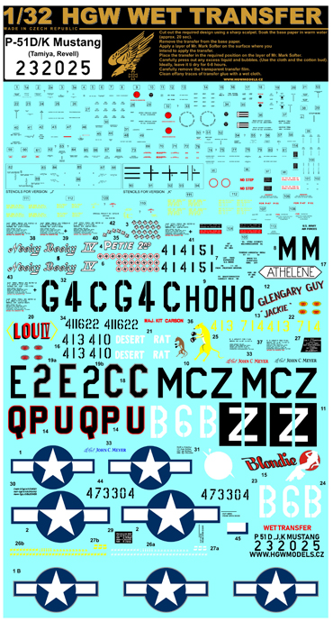 North-American P-51D/K Mustang - Marking & Stencil #HGW232025