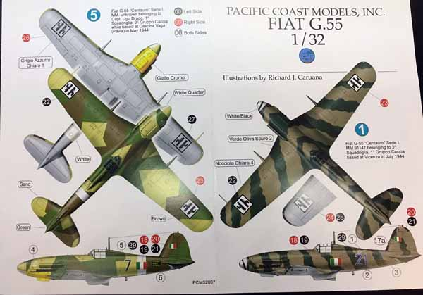 Pacific Coast Models PCM32007 1//32 Fiat G.55 Series 1 Fighter
