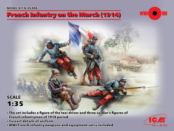 French Infantry on the March 1914 (4) (New Tool) #ICM35705