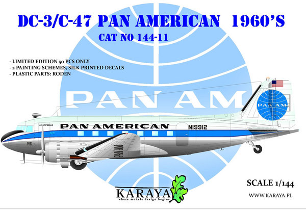 Douglas DC-3 Pan Am (very limited Roden kit with new decals) #KY14411