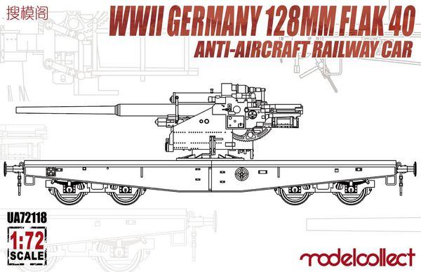 WWII Germany 128mm Flak 40 Anti-Aircraft Railway Car #MDO72118