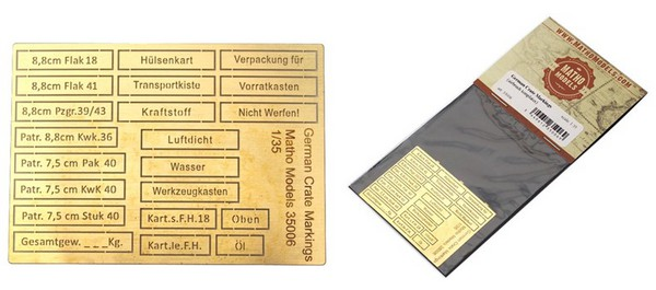 German Crate Markings Airbrush Template, Photo-Etch (21 different) #MAT35006