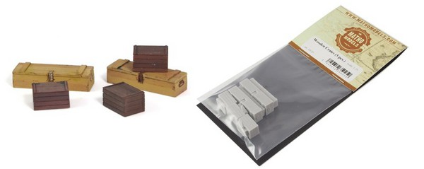 Wooden-Type Crates, Resin (5) (2 different types) #MAT35025