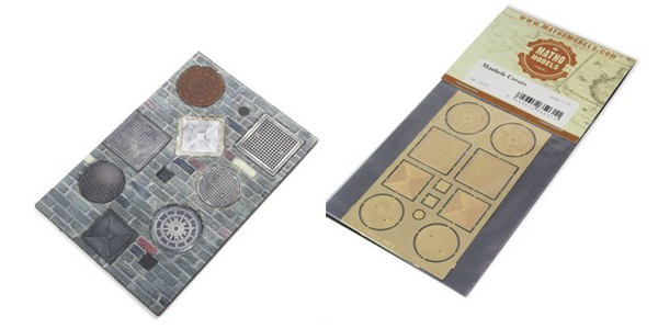 Manhole Covers, Photo-Etch (8) (4 different types & 3 small indicator plates) #MAT35031