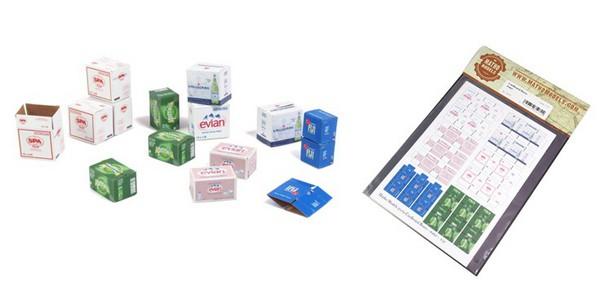 Cardboard Boxes Water, Printed Paper (30) (Evian, Fiji, Perrier, SPA, S.Pellegrino) #MAT35072