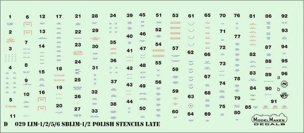 LiM-1/2/5/6/SBLim-1/2 Polish stencils late #MMD72029