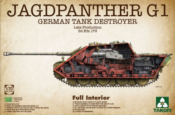 Jagdpanther G1 Late Production SdKfz 173 German tank Destroyer w/Full Interior (New Tool) #TAO2106