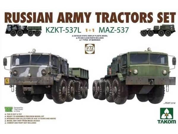 Russian Army Tractors Set: KZKT537L & MAZ537 (New Tool) #TAO5003