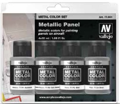 32ml Bottle Metallic Aircraft Panel Metal Color Paint Set (4 Colors) #VLJ77601