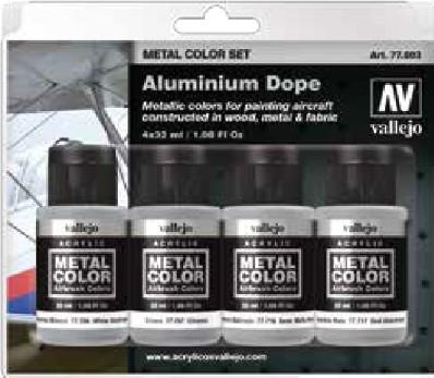 32ml Bottle Aluminum Aircraft Dope Metal Color Paint Set (4 Colors) #VLJ77603