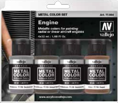 32ml Bottle Aircraft Engine Metal Color Paint Set (4 Colors) #VLJ77604