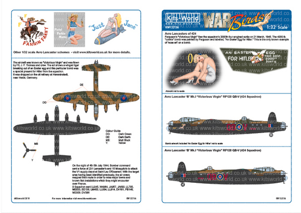 Avro Lancaster Bomber 'B' Designed for the HK Model Kit #WBS132136