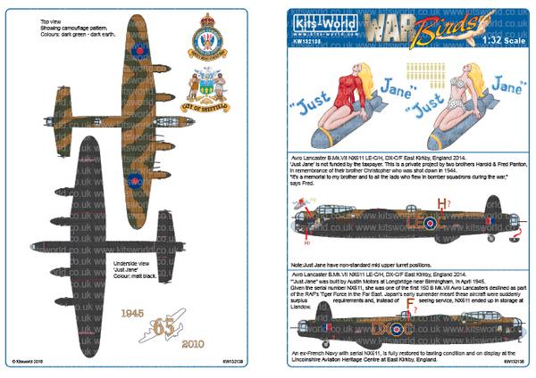 Avro Lancaster Bomber 'B' Mk.VII Designed for the HK Model Kit #WBS132138
