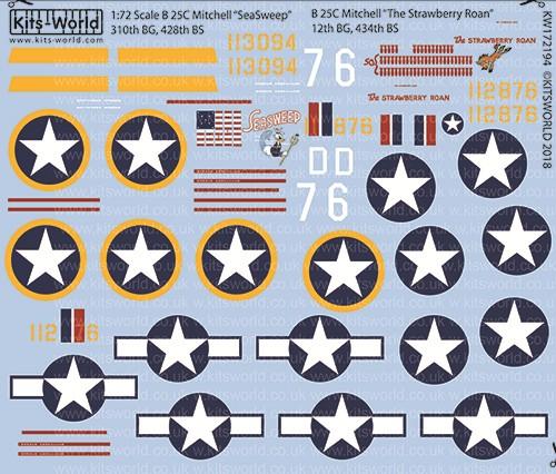 B-25C Seasweep 310th BG 428th BS, The Strawberry Roan 12th BG 434th BS #WBS172194