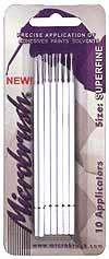Microbrush Superfine Disposable Q-Tip Type Applicator White MHS10 (10 pcs on Card) #BRU12