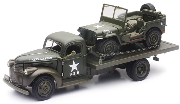 1941 Chevrolet Military Flatbed truck w/Willys Jeep (Die Cast) #NRY61053