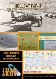 1ManArmy  1/32 Grumman F6F-3 Hellcat early version high definition stencilling and national insignia paint masks 32DET008